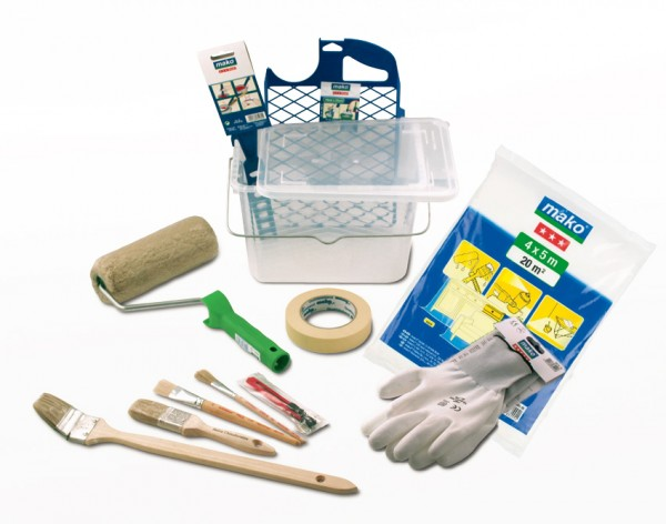 Pinsel- und Farbwerkzeug-Set mit Farbeimer 14-teilig