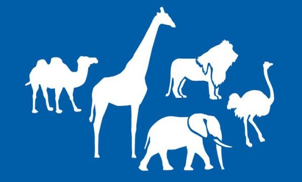 Schablone Afrika Tiere, Kamel, Elefant, Löwe, Giraffe, Strauss - Wandschablone