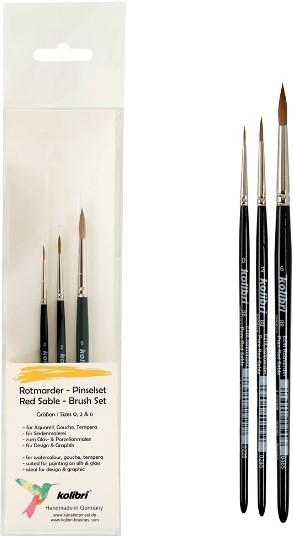 Rotmarder Künstlerpinselset, für Aquarell Tempera und Gouache Farben, für Modellbau, Seidenmalerei und Glasmalerei