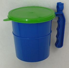 Farbtopf rund mit Deckel und Pinselhalter - Pinselpott
