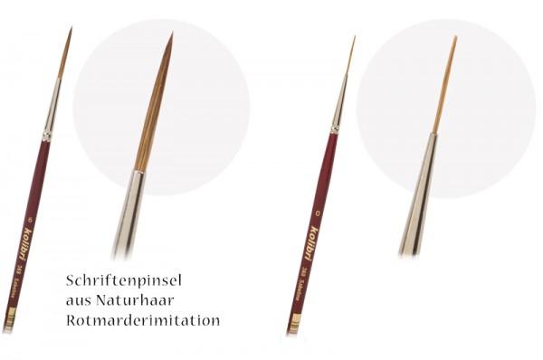 Schreibpinsel rund & spitz - Rotmarderimitation - Schriftenpinsel - Linierer