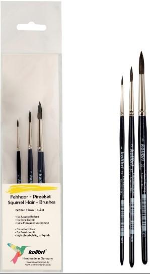 Fehhaarpinsel-Set für den Einstieg in die Aquarellmalerei, Schulpinselset, Hobbypinselset