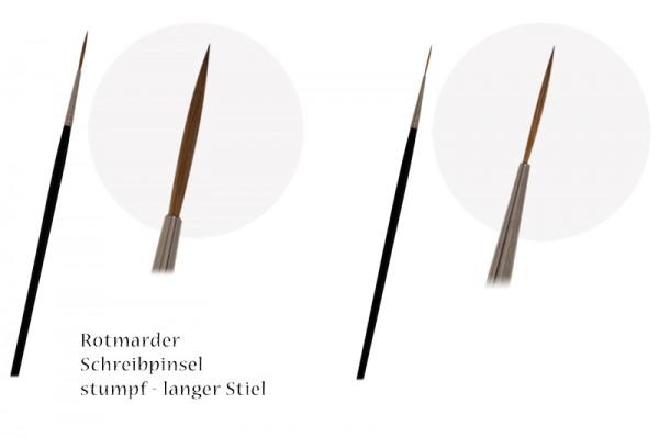 Rotmarder-Schreibpinsel stumpf - langer Stiel