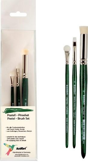 Pastellpinsel-set für Trockentechniken, zum Auftragen, Verwischen und für Details mit Pastell, Kohle, Kreide