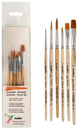 Synthetikpinsel-set Primus, Hobby und Schulpinselset, für Wasser und Acrylfarben, für Seiden und Glasmalerei, für Decoupage und Modellbau