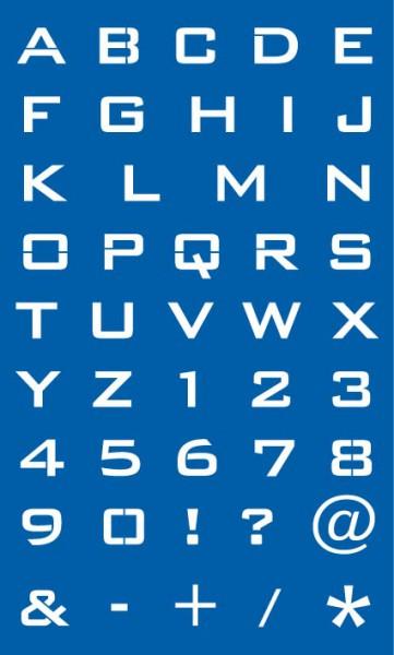 Wandschablone/ Motivschablone Buchstaben + Zahlen