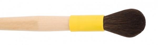 Formerpinsel, Fischpinsel, Einkehrpinsel rund oval - weiches Naturhaar - gelbe Plastikkapsel - Naturholzstiel