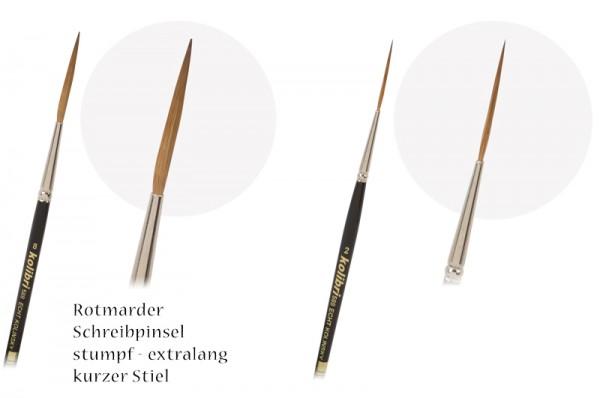 Rotmarder-Schreibschlepper stumpf und extralang - kurzer Stiel