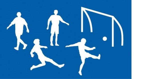 Schablone Fußballspieler, Fußball, Fußballtor - Wandschablone