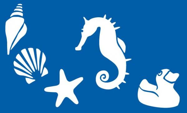 Schablone Meerestiere / Strand - Seepferdchen, Seestern, Muschel, Ente, Wasserschnecke - Wandschablone