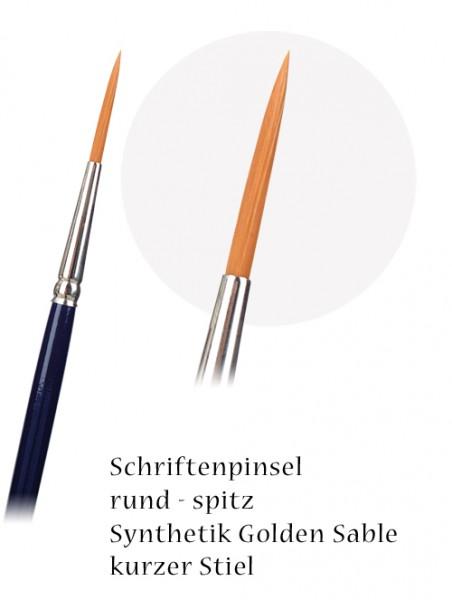 Schriftenpinsel rund, spitz - Synthetic Golden Sable - kurzer Stiel