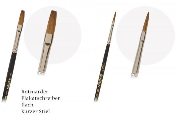 Rotmarder-Plakatschreiber flach - kurzer Stiel