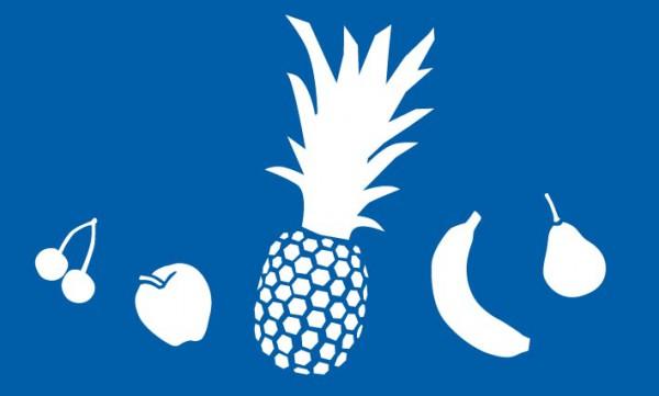 Schablone Obst, Ananas, Kirschen, Apfel, Babane, Birne - Wandschablone