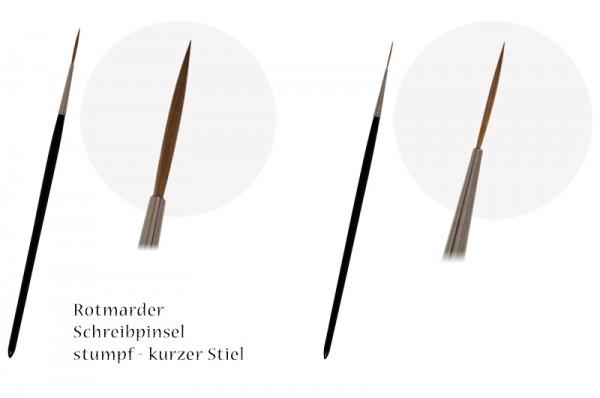 Rotmarder-Schreibpinsel stumpf - kurzer Stiel
