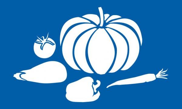 Schablone Kürbis und Gemüse, Paprika, Tomate, Karotte, Aubergine - Wandschablone