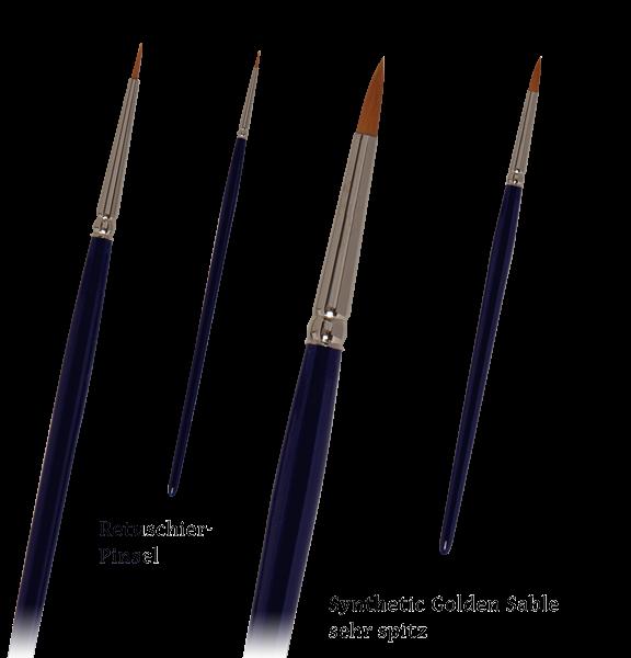 Retuschierpinsel / Miniaturpinsel / Detailpinsel / Modelbaupinsel extra kurz - sehr spitz - Synthetic Golden Sable