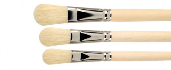 flach ovaler Künstler-Borstenpinsel - weiße extralange Borsten