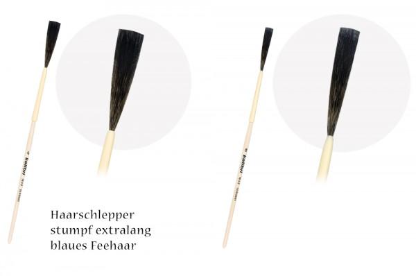 Haarschlepper stumpf extralang- blaues Fehhaar - Kiel und Holzstiel