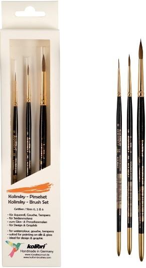 Kolinsky-Pinselset, Künstlerpinsel-set für Aquarell, Gouache und Tempera, für Modellbau, Glas und Seidenmalerei,